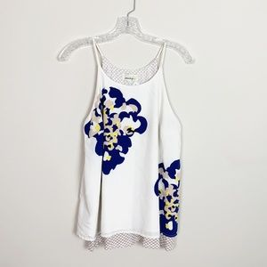Anthropologie | floral print layered blouse S